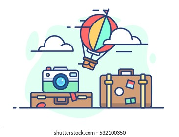 illustration of travel. Balloon in the clouds, suitcase with things and a camera on white background in flat style