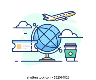 illustration of travel. Globe ticket, a plane in the clouds and coffee on white background in flat style