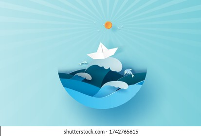 Illustration of travel in holiday summer season sunlight circle concept. Paper cut style.Vacation summertime idea pastel background,Sea wave view with paper boat landscape. Dolphins jumping joyfully