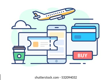 illustration of travel. Icon aircraft, ticket, coffee, cloud, credit card on white background in flat style