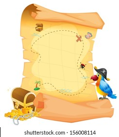 Illustration of a treasure map with a parrot on a white background