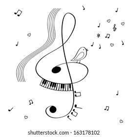 Illustration with treble clef, singing bird and notes