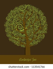 Illustration of a tree with arabesques, green and brown, vector illustration
