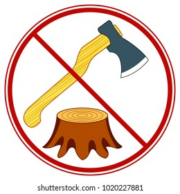 Illustration of the tree felling forbid symbol