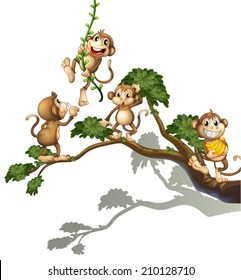 Illustration of a tree with four monkeys on a white background