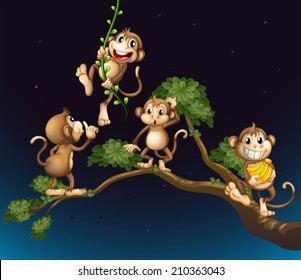 Illustration of a tree with four playful monkeys