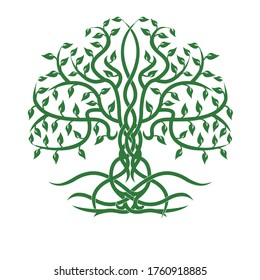 illustration of a tree in green with a celtic concept