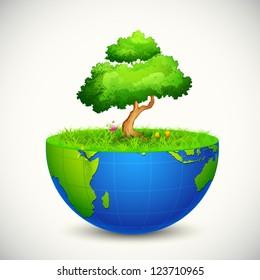 illustration of tree growing on half Earth