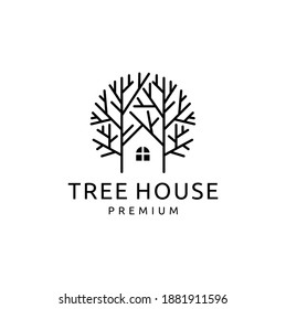 Illustration of Tree House Logo Design Template