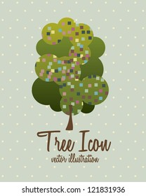 Illustration of tree icon with leaves, vector illustration