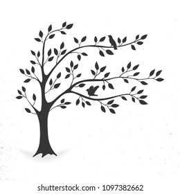 illustration tree with leaves and birds.  Silhouette on white background.