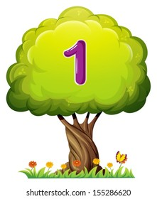 Illustration of a tree with a number one figure on a white background