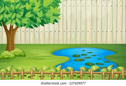 Illustration of a tree, a pond and a beautiful landscape