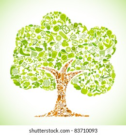 illustration of tree with recycle symbol on abstract background