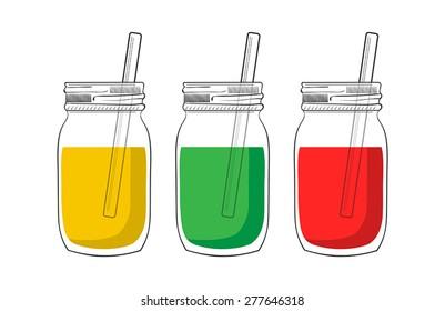 Illustration of tree smoothie jars isolated on white background