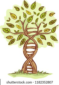 Illustration of a Tree with Trunk in DNA Shape