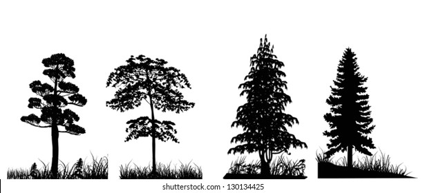 illustration with trees in grass set isolated on white background