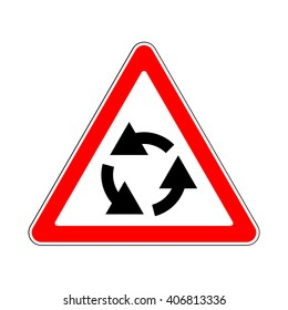Illustration of Triangle Traffic Sign for Roundabout