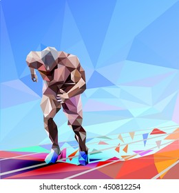 illustration triangular Runner on blue background