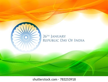 illustration of tricolor banner with Indian flag for 26th January Happy Republic Day of India