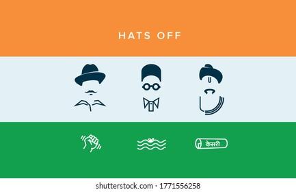 illustration of Tricolor India background with Nation Hero and Freedom Fighter like Bhagat Singh, Veer Savarkar, Lokmanya Tilak for Independence Day.