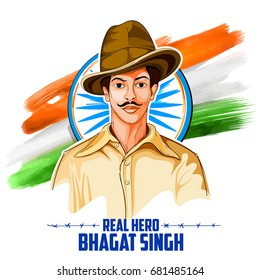 illustration of Tricolor India background with Nation Hero and Freedom Fighter Bhagat Singh for Independence Day