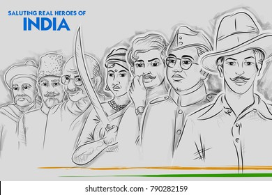 illustration of Tricolor India background with Nation Hero and Freedom Fighter like Mahatma Gandhi, Bhagat Singh, Subhash Chandra Bose for Independence Day