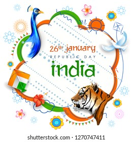 illustration of tricolor Indian banner for 26th January Happy Republic Day of India with National bird peacock and animal Tiger