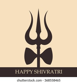 Illustration of Trishul with Happy Shivratri text for Shivratri, a Hindu festival celebrated of the God Shiva.