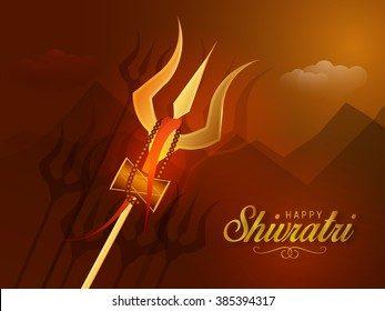 Illustration of Trishul with Happy Shivratri text for Shivratri, a Hindu festival celebrated of the God Shiva.