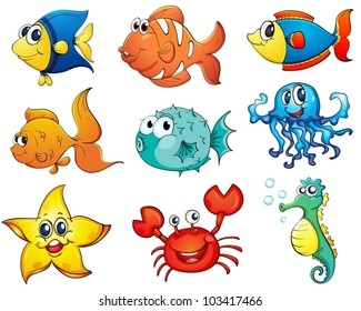 Illustration of tropical fish collection