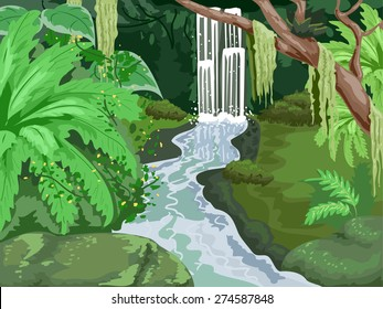Illustration of a Tropical Forest with a Waterfall in the Middle
