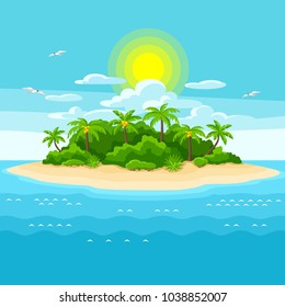 Illustration of tropical island in ocean. Landscape with ocean and palm trees. Travel background.