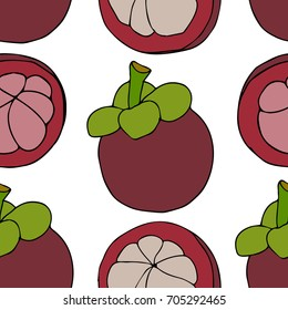 Illustration of tropical mangosteen fruit background.  Doodle style. Design icon, print, logo, poster, symbol, decor, textile, paper, card.