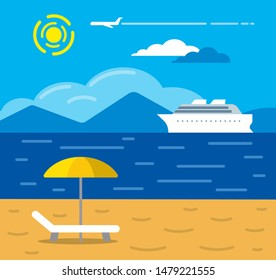 illustration of tropical sea beach resort and cruise travel