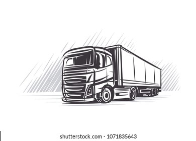 Illustration of a truck and abstract background. Vector.