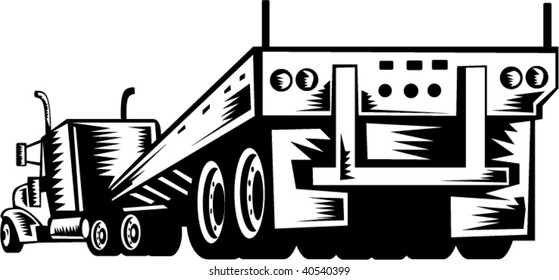 illustration of a truck and trailer viewed from the rear