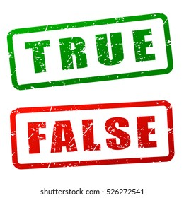 Illustration of true and false stamp design