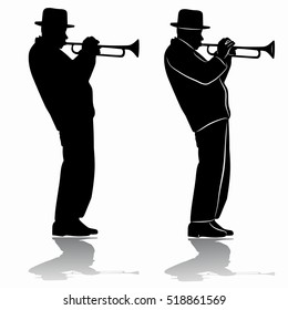 illustration of trumpet player . black and white drawing, white background