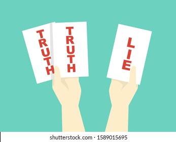 Illustration of Truth and Lie Office Game, with Hands Holding White Cards with Truth and Lie