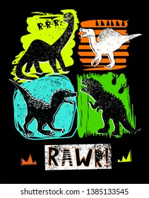 Illustration for t-shirts with colorful  hand drawing dinosaurs.