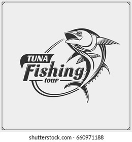 Illustration of Tuna. Fishing label and emblem.