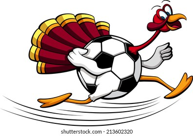 illustration of a turkey running with a  soccer ball or football for his body.
