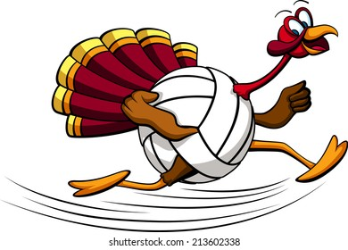 illustration of a turkey running with a  volleyball for his body.