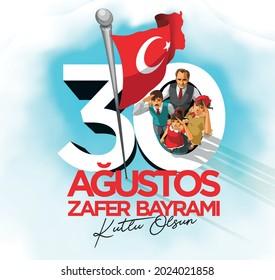 ilustración de turcos saludando a la bandera turca con orgullo en el Día de la República Feliz. Traducir: Feliz 30 de Agosto, Día de la Victoria