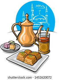 illustration of turkish traditional tea with baklava, sweets and delight