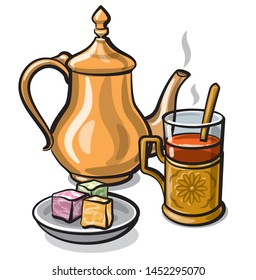 illustration of turkish traditional tea with sweets and delight