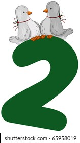 Illustration of Turtle Doves Sitting on Top of a Number 2