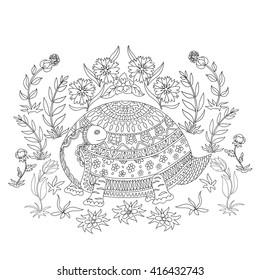 Illustration with turtle drawings