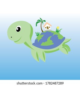 Illustration of a turtle with an earth shell. Isolated vector